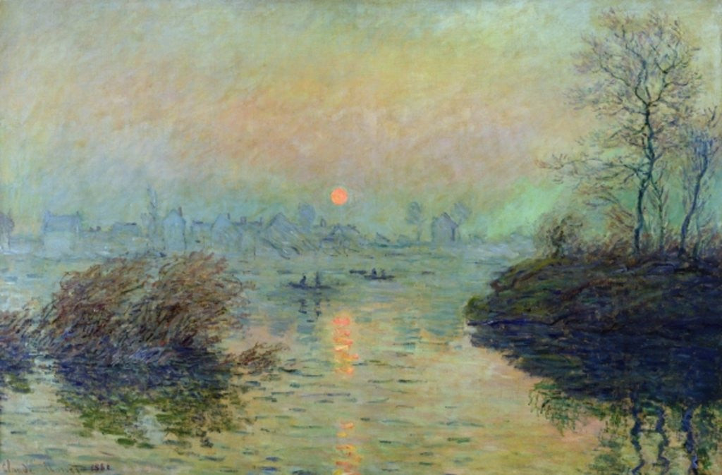 Detail of Sun Setting over the Seine at Lavacourt. Winter Effect by Claude Monet