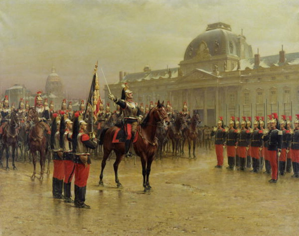 Detail of Colonel de La Rochetulon Presenting to the Recruits of the 6th Cavalry the Standard of the Regiment by Louis Auguste Georges Loustaunau