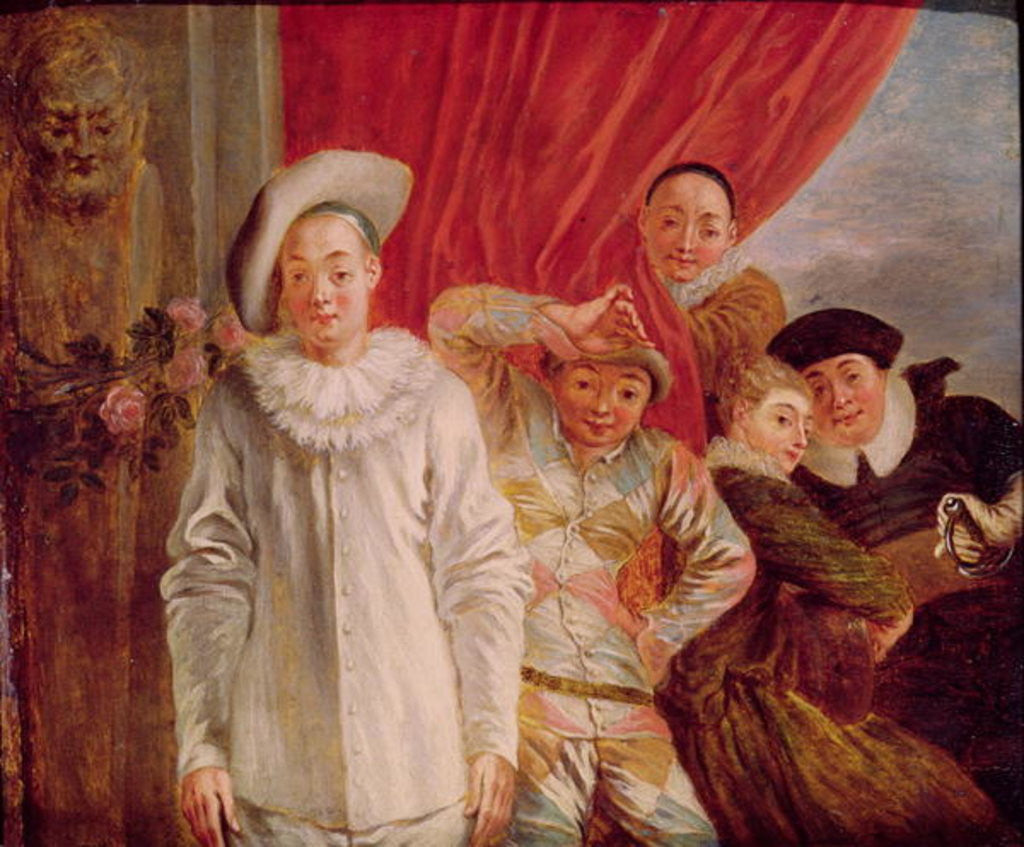 Detail of Actors of the Comedie Italienne by Jean Antoine Watteau