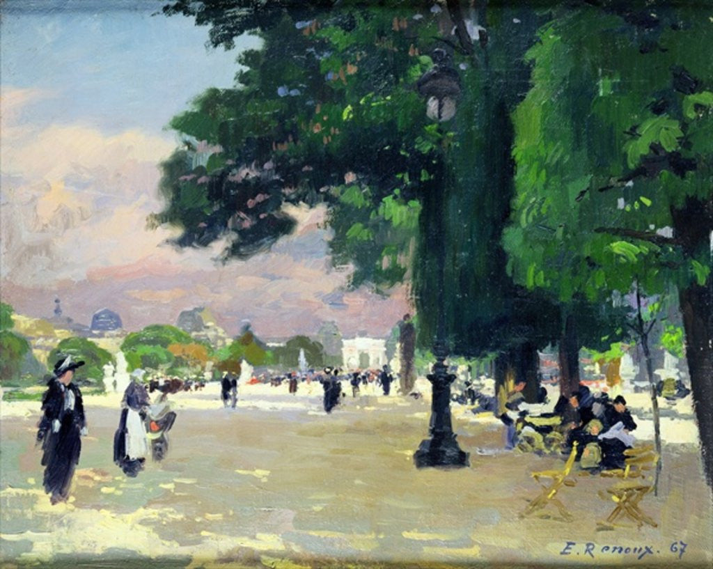 Detail of The Tuileries by Jules Ernest Renoux