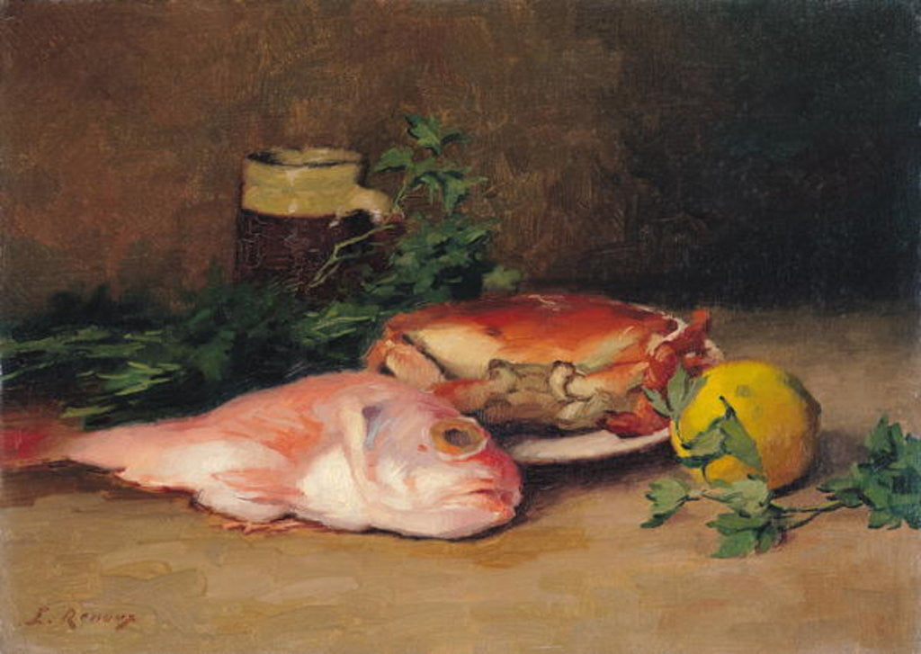 Detail of Crab and Red Mullet by Jules Ernest Renoux