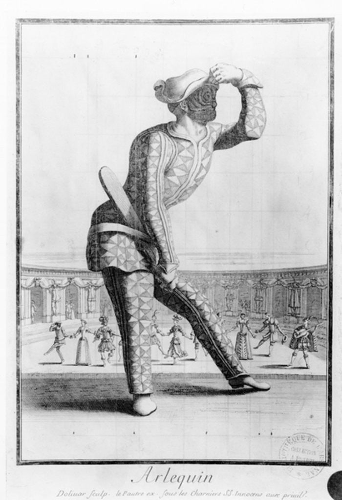 Detail of Harlequin, engraved by Juan Dolivar by Antoine Le Pautre