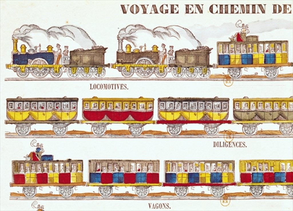 Detail of Rail Travel in 1845 by French School
