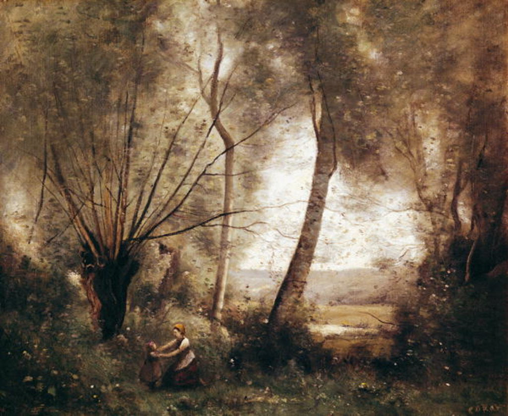 Detail of Landscape by Jean Baptiste Camille Corot