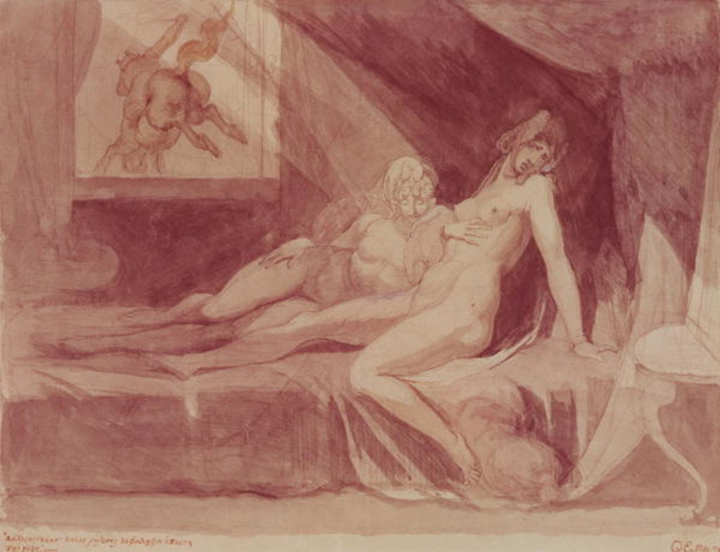 Detail of The Nightmare Leaving Two Sleeping Women by Henry Fuseli