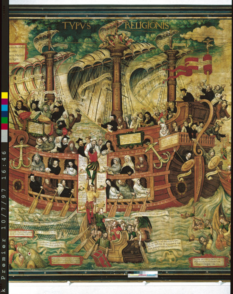 Detail of 'Typus Religionis', Allegory of the Society of Jesus, detail of the central part depicting a three-masted ship carrying the founders of the Orders by French School