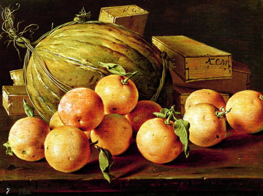 Detail of Still Life of Oranges, Melons and Boxes of Sweets by Luis Egidio Melendez