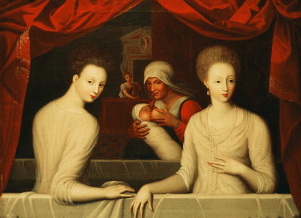 Gabrielle d'Estrees and her sister, the Duchess of Villars by Fontainebleau School