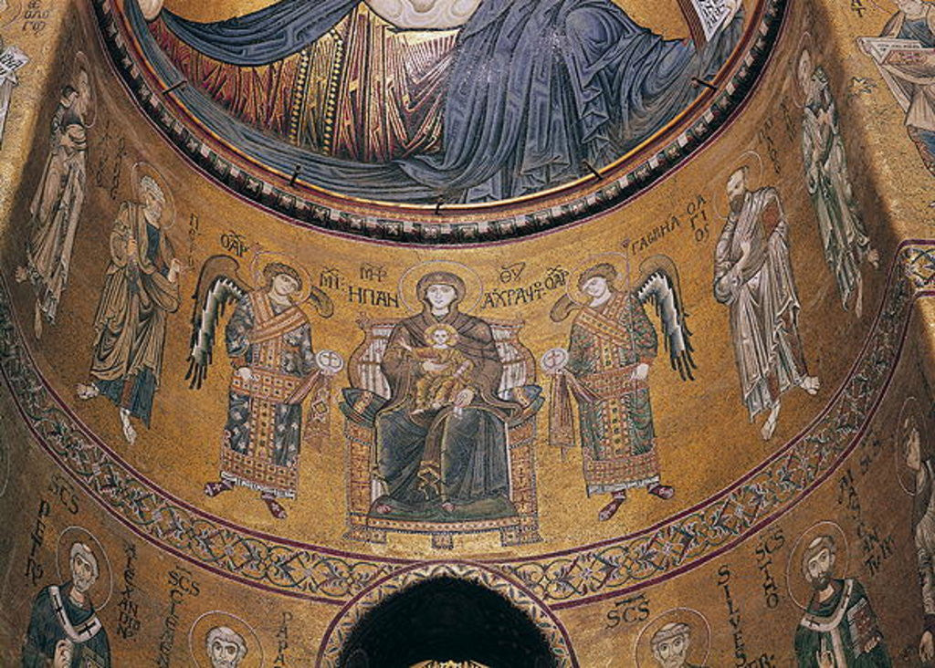 Detail of Madonna and Child Enthroned with Angels and Apostles by Byzantine School