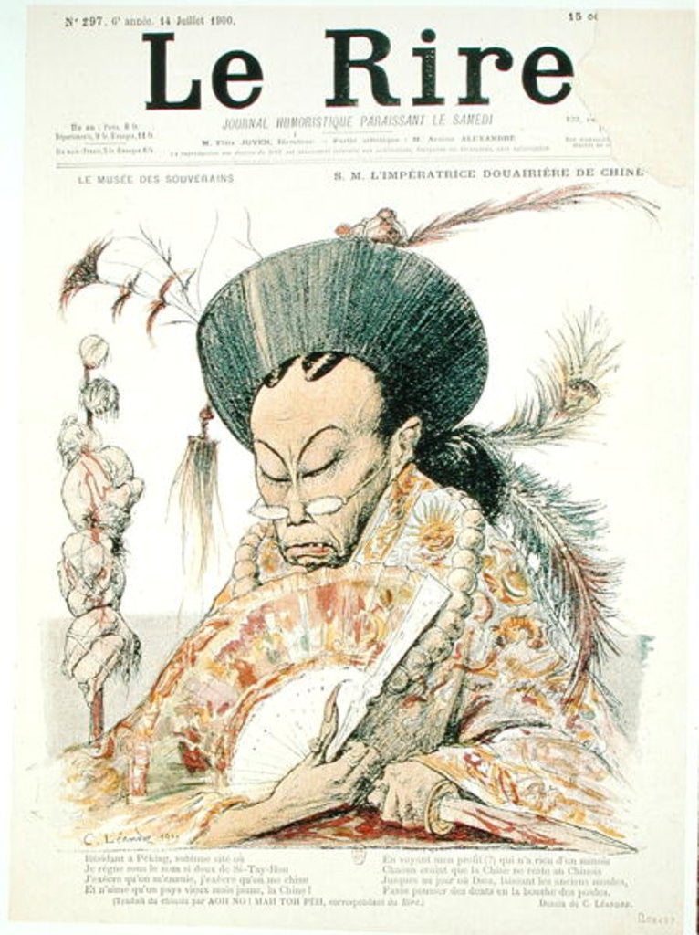 Detail of Tz'U-Hsi Empress Dowager of China, front cover of 'Le Rire' by Charles Leandre