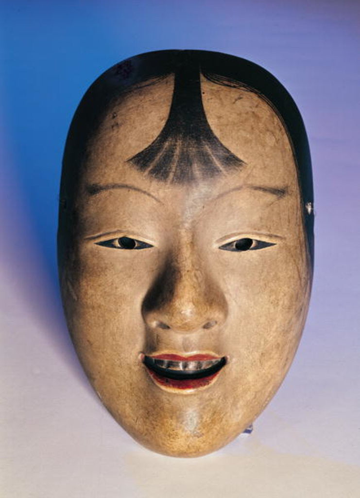 Detail of Noh theatre mask of a young boy called Kasshiki by Japanese School