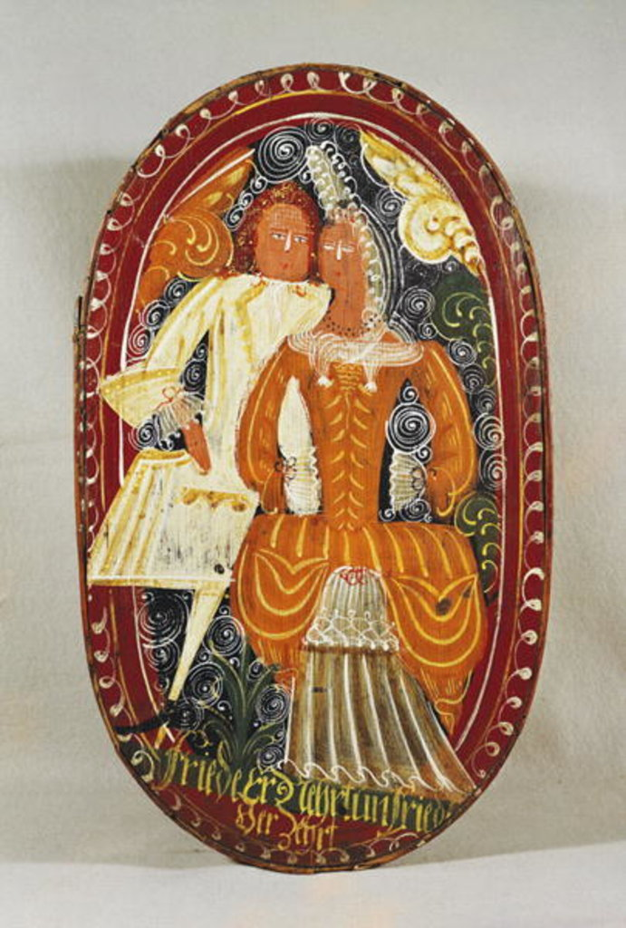Detail of Marzipan box depicting a man and woman, c.1660 by German School
