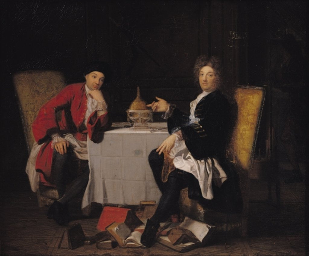 Detail of Two Epicureans by Robert Tournieres
