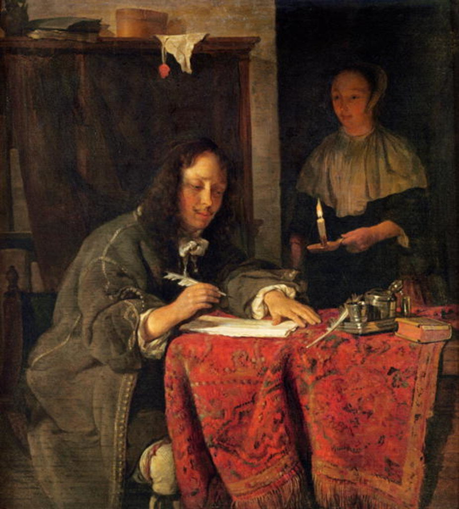 Detail of The Writer by Gabriel Metsu