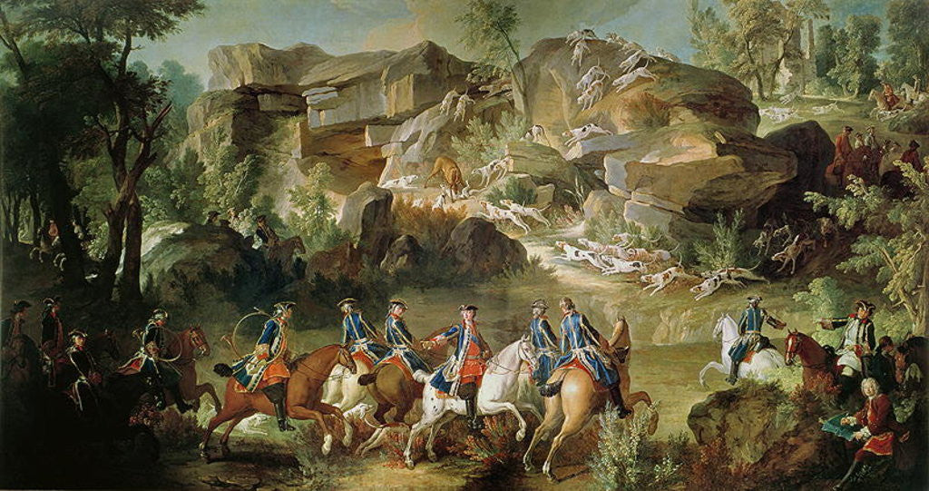Detail of Hunting in the Forest of Fontainebleau at Franchard by Jean-Baptiste Oudry