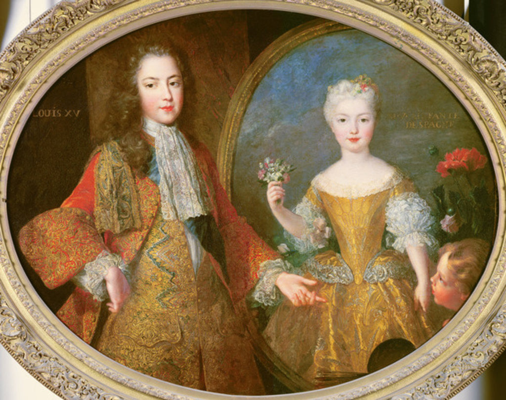 Detail of Louis XV and the Infanta of Spain, Maria Ana Victoria by Alexis Simon Belle