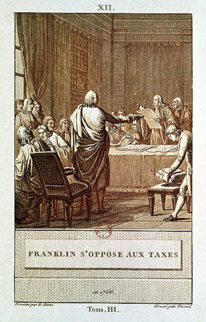 Detail of Benjamin Franklin Presenting his Opposition to the Taxes in 1766, engraved by David by Le Jeune