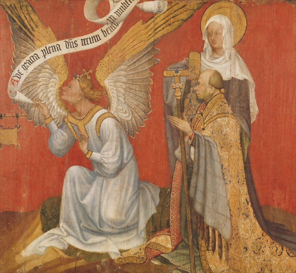 Detail of Panel from a diptych depicting the Angel of the Annunciation, the Donor and a Female Saint, possibly St. Mary Magdalene by Master of the Rohan Hours