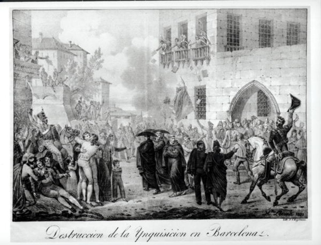 Detail of Destruction of the Inquisition in Barcelona by Hippolyte Lecomte