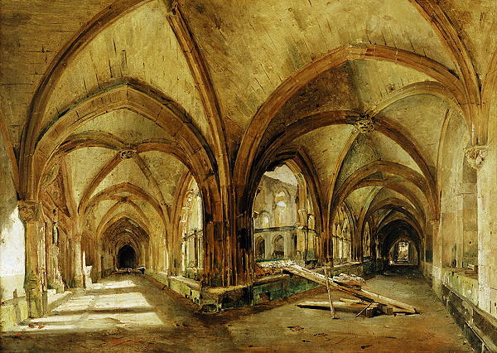 Detail of The Cloisters of St. Wandrille by Louis Eugene Gabriel Isabey