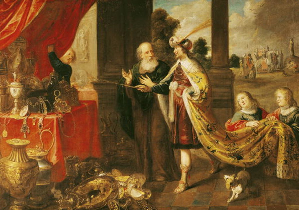 Detail of Ahasuerus Showing his Treasure to Mordecai by Claude Vignon