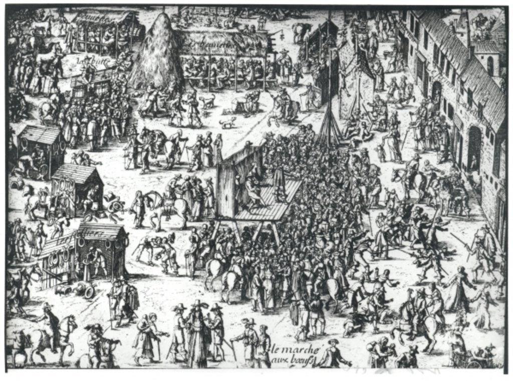 Detail of The Guilbray Fair and the Cattle Market by French School