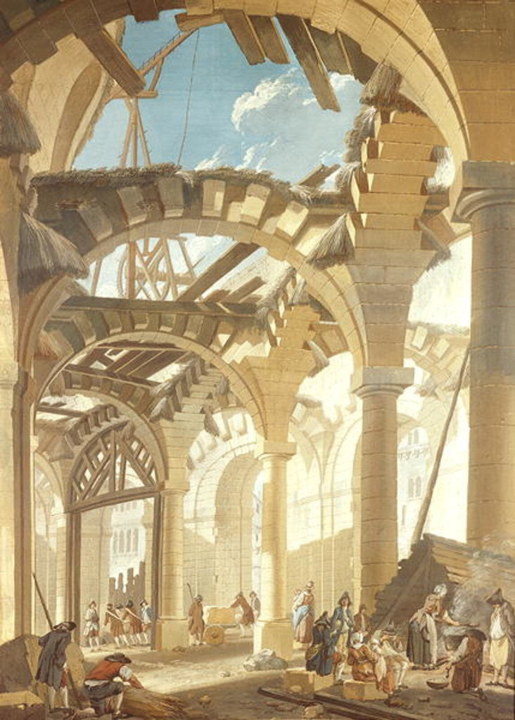 Detail of Construction of a Wheat Market by Pierre-Antoine Demachy