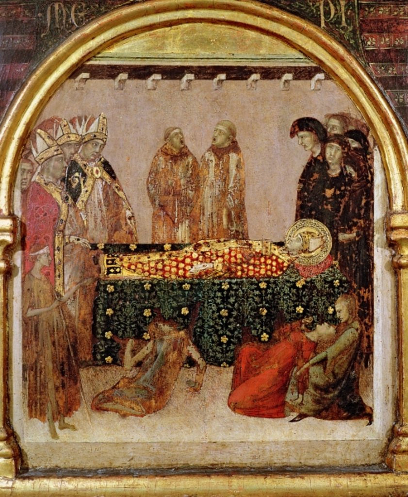 Detail of Curing the sick on the day of the death of St. Louis of Toulouse predella panel from the Altar of St. Louis of Toulouse by Simone Martini