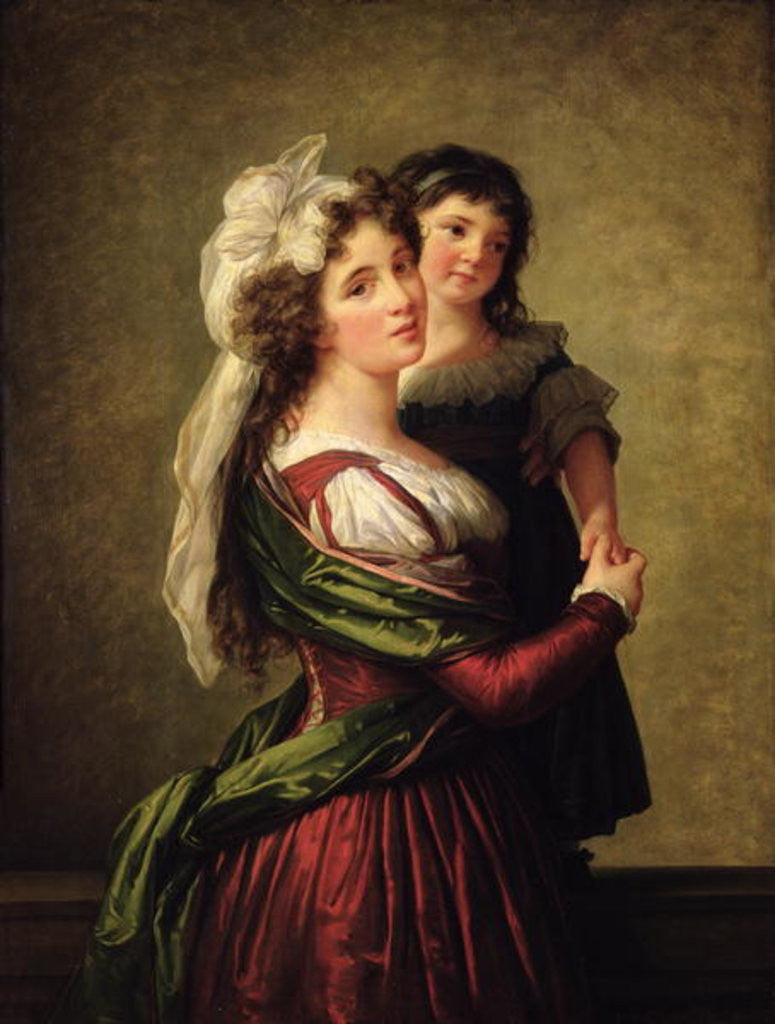 Detail of Madame Rousseau and her Daughter by Elisabeth Louise Vigee-Lebrun