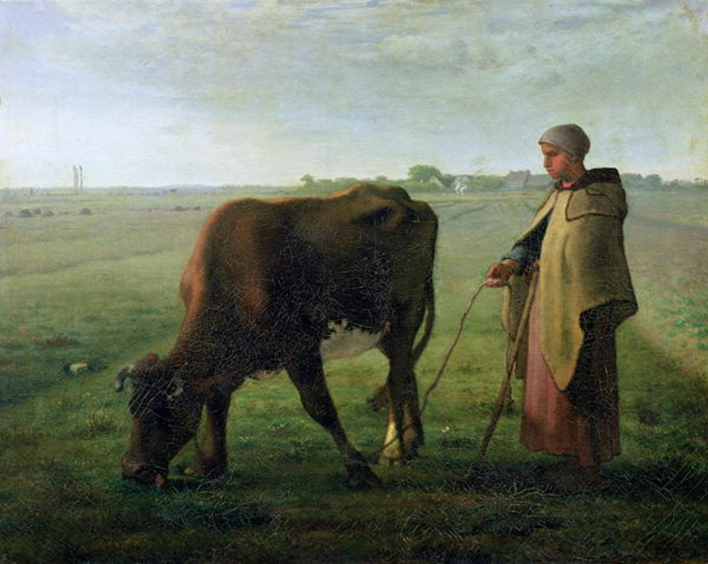 Detail of Woman Grazing her Cow by Jean-Francois Millet
