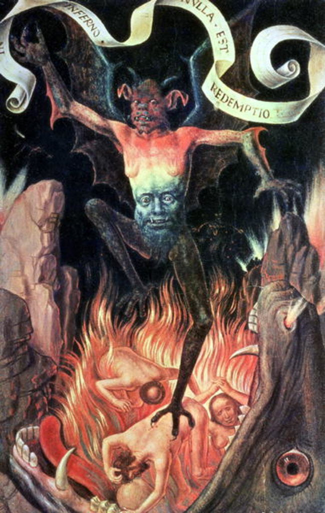 Detail of Hell, right hand panel from the Triptych of Earthly Vanity and Divine Salvation by Hans Memling