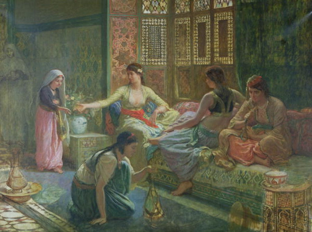 Detail of Interior of a Harem by Leon-Auguste-Adolphe Belly