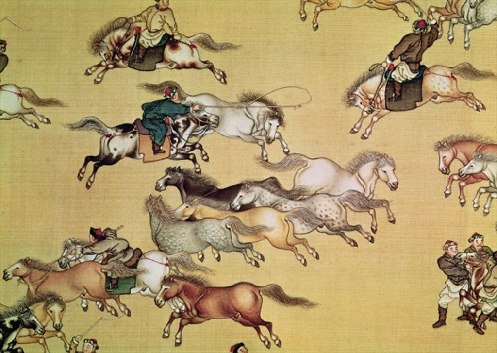 Detail of Voyage of Emperor Qianlong detail from a scroll, Qing Dynasty by Mou-Lan