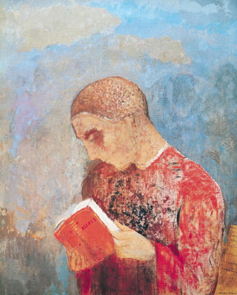 Detail of Alsace or, Monk Reading by Odilon Redon