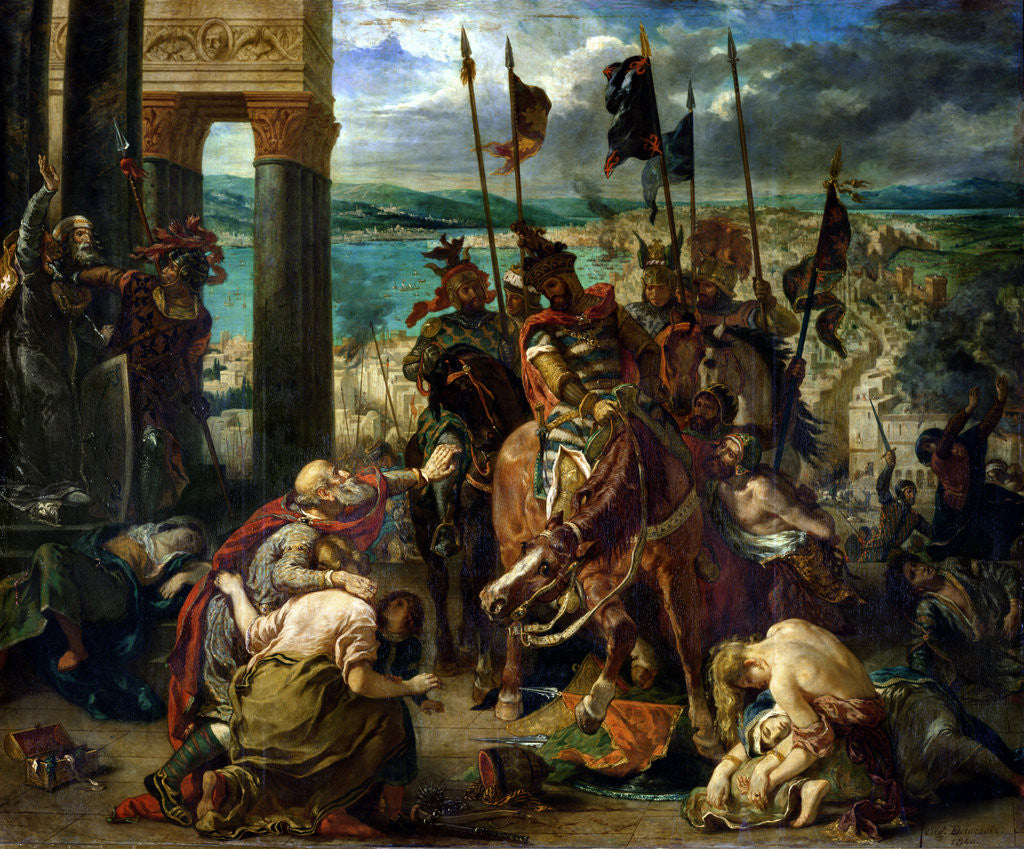 Detail of The Crusaders' entry into Constantinople, 12th April 1204 by Ferdinand Victor Eugene Delacroix