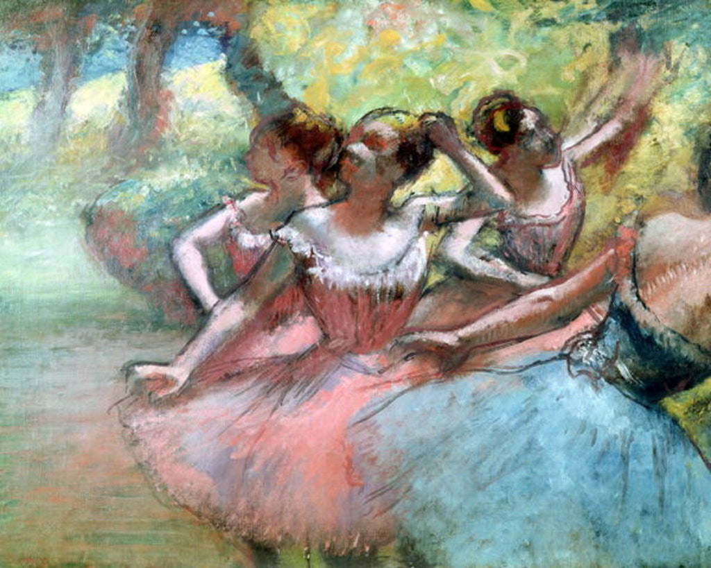 Detail of Four ballerinas on the stage by Edgar Degas