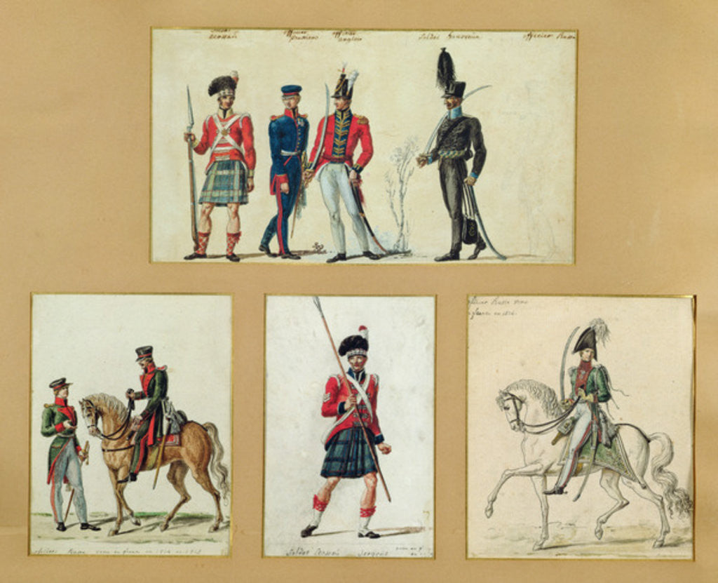 Detail of The uniforms of Scottish soldiers and Prussian, English, Hanoverian and Russian officers in 1814 by Pierre Antoine Lesueur