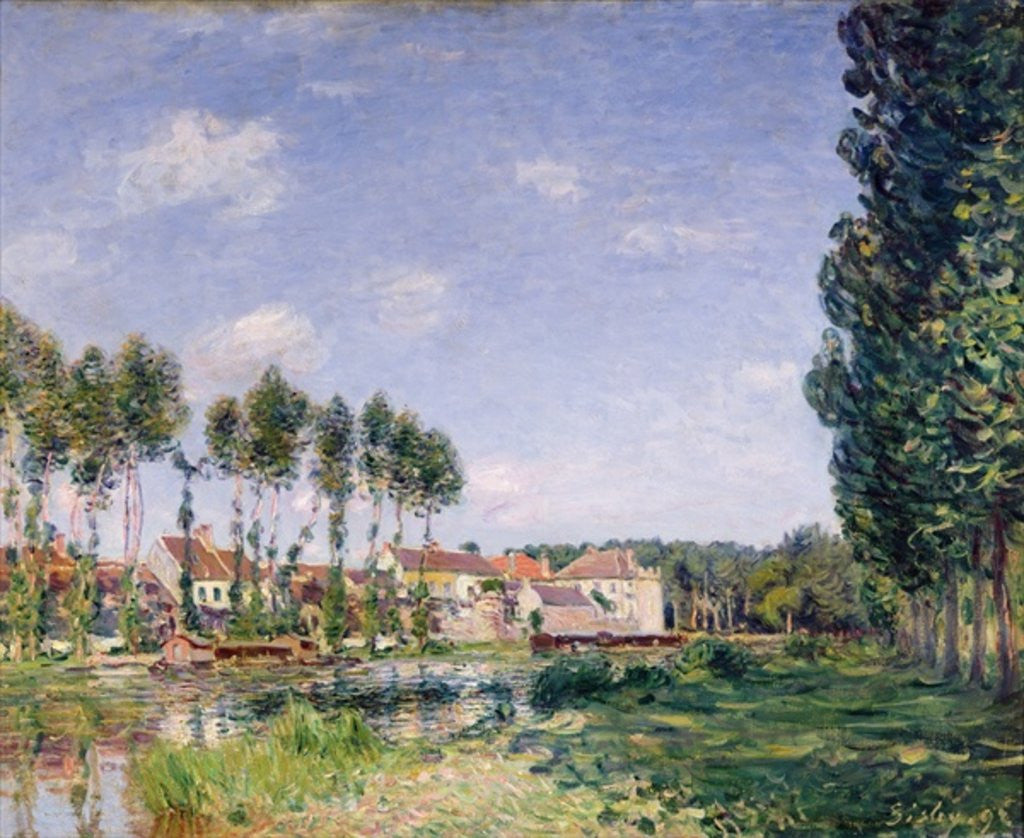 Detail of Banks of the Loing, Moret by Alfred Sisley