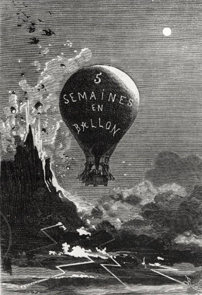 Detail of Frontispiece to 'Five Weeks in a Balloon' by Jules Verne by Edouard Riou