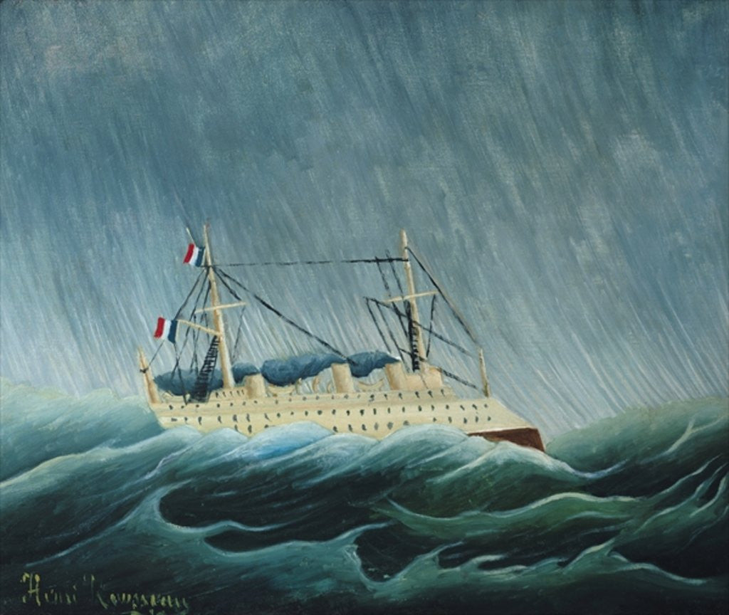 Detail of The storm-tossed vessel by Henri J.F. Rousseau