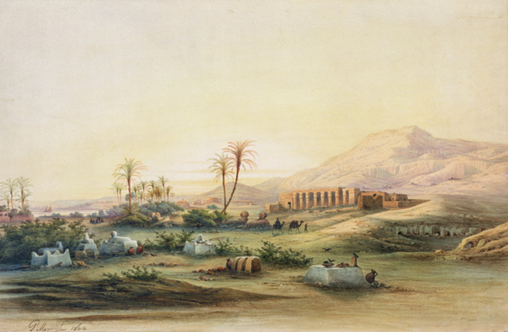 Detail of Valley of the Nile with the Ruins of the Temple of Seti I by Prosper Georges Antoine Marilhat
