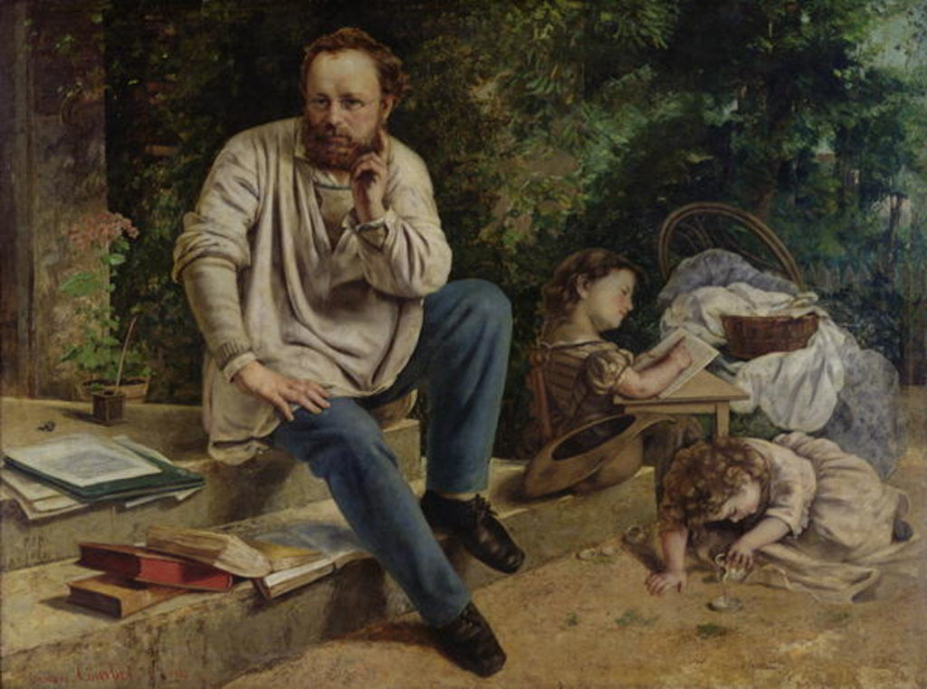 Detail of Pierre Joseph Proudhon and his children in 1853 by Gustave Courbet