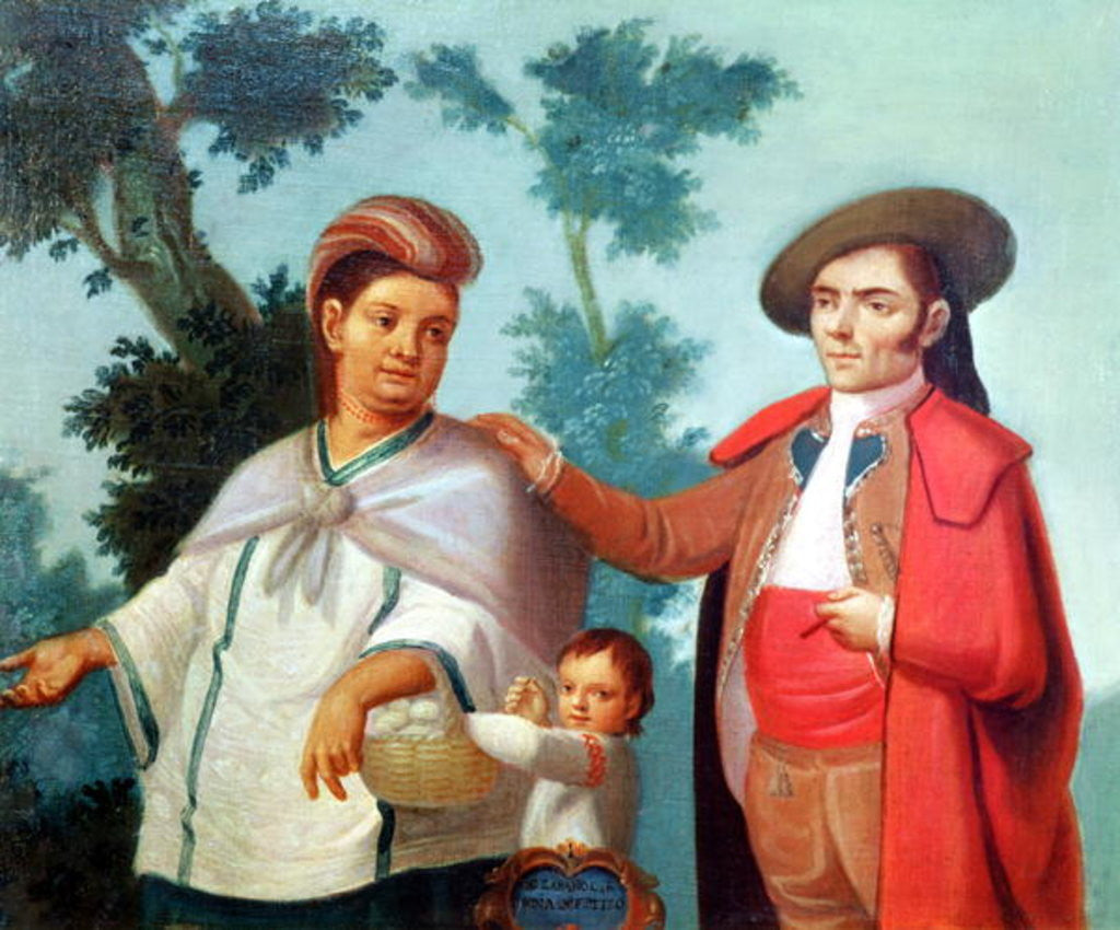 Detail of A Spaniard and his Mexican Indian Wife by Mexican School