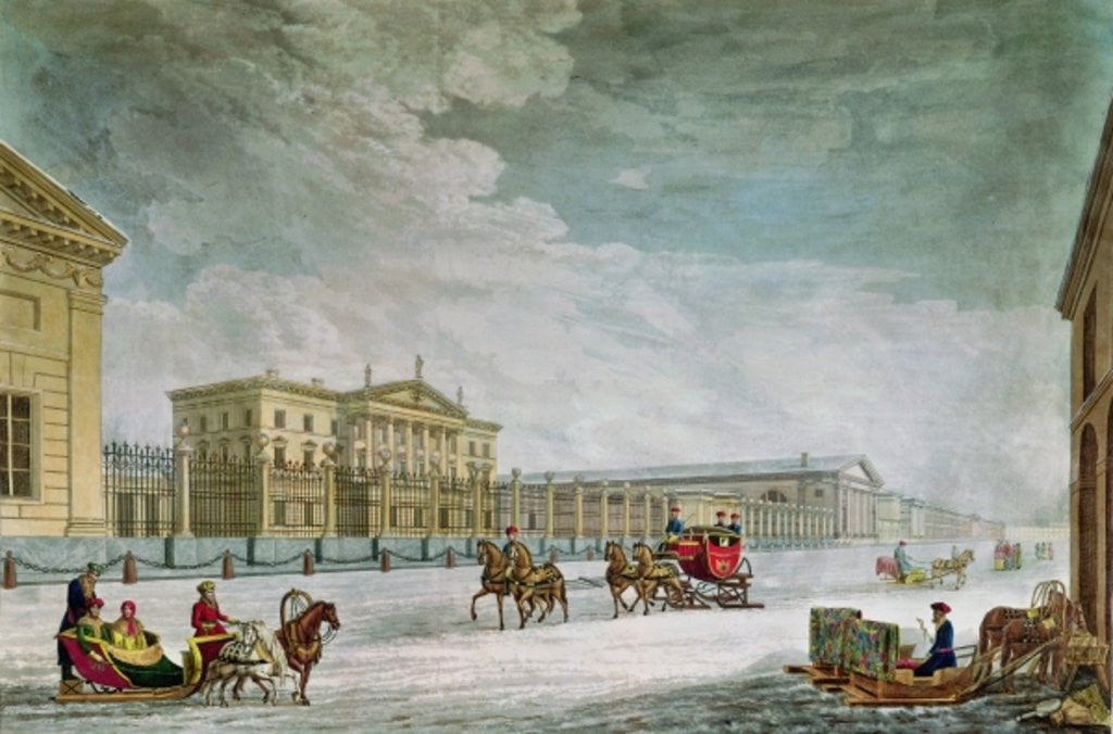 Detail of View of the Imperial Bank and the Shops at St. Petersburg by Mornay
