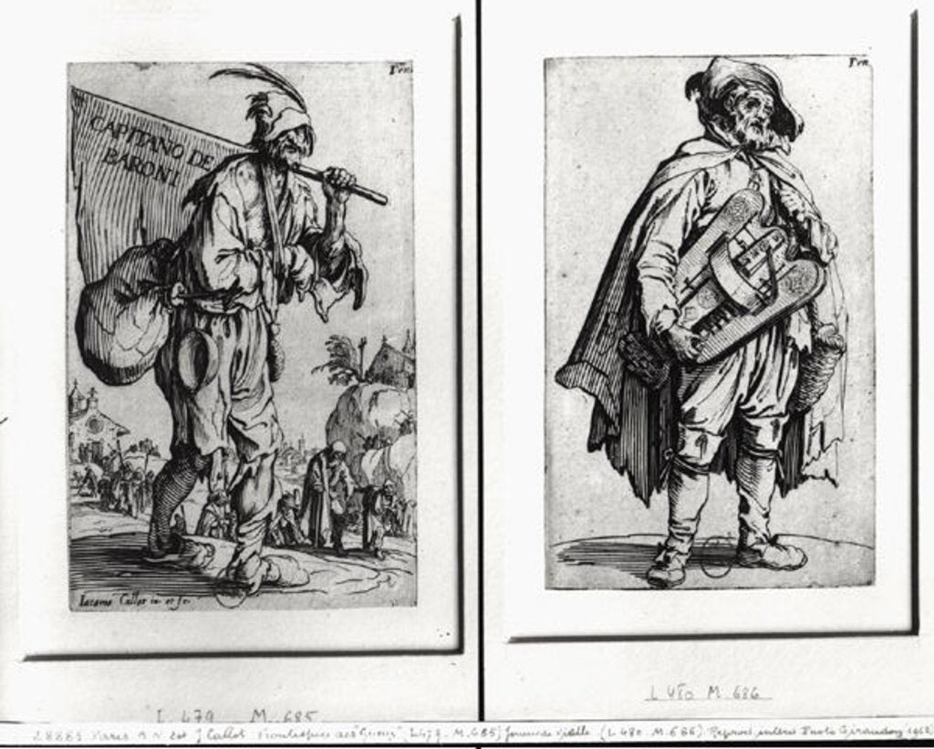 Detail of A Beggar and a Hurdy-Gurdy Player by Jacques Callot