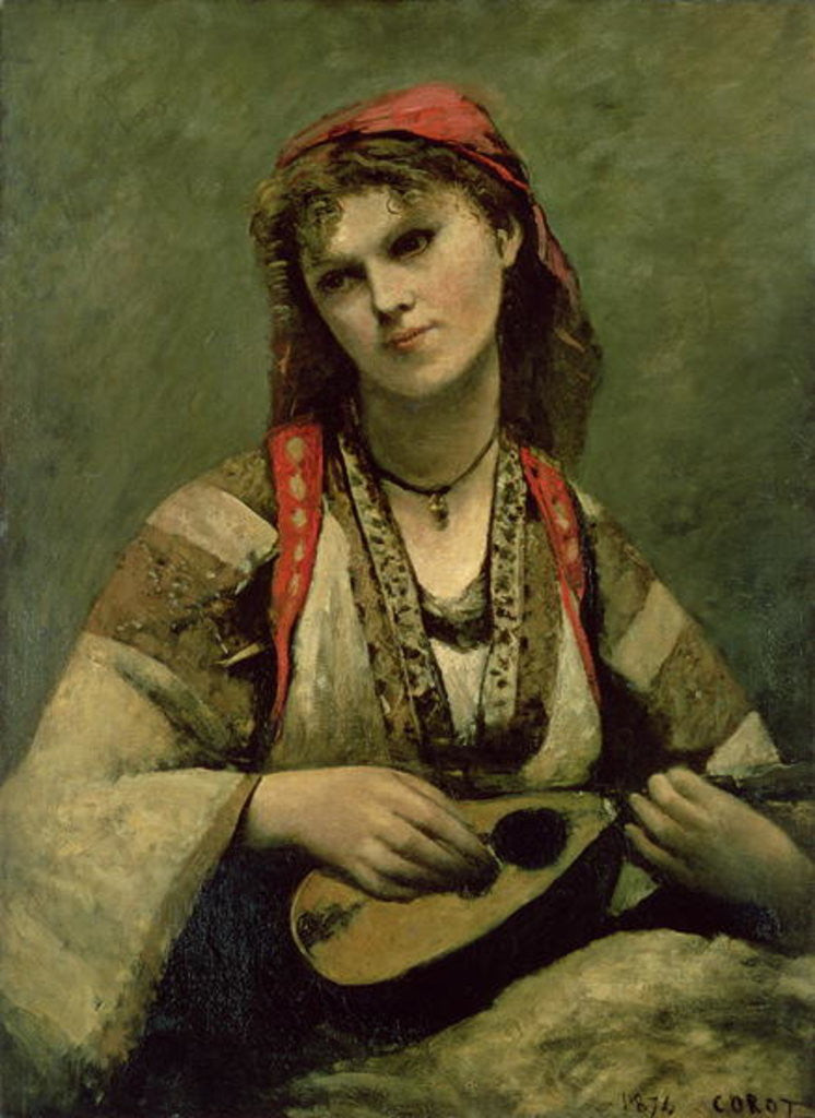 Detail of Christine Nilson or The Bohemian with a Mandolin by Jean Baptiste Camille Corot