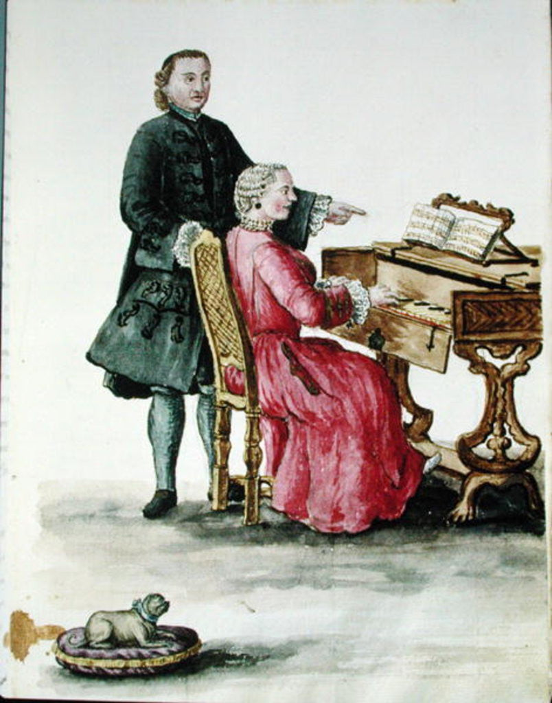 Detail of A Singer at the Clavichord with her Teacher by Jan van Grevenbroeck