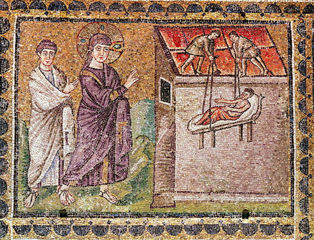 Detail of The Paralytic of Capharnaum is Lowered from the Roof, Scenes from the Life of Christ by Byzantine School