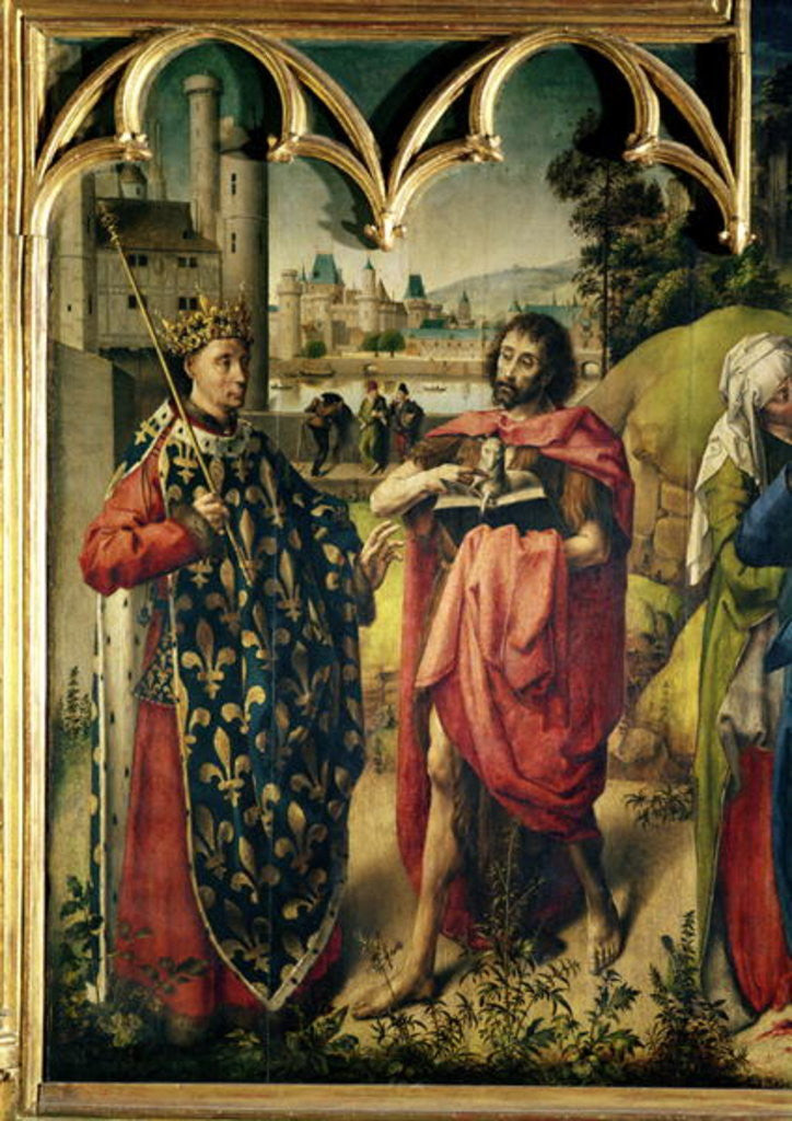 Detail of The Parlement of Paris Altarpiece, detail of St. Louis and St. John the Baptist by French School