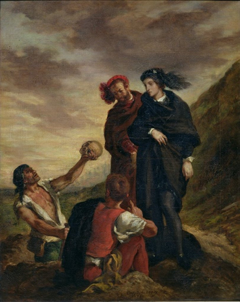 Detail of Hamlet and Horatio in the Cemetery by Ferdinand Victor Eugene Delacroix